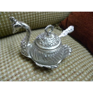 Duck Shaped German Silver Bowl With Spoon For Gifting