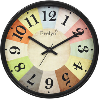Evelyn Round Wall Clock With Glass For Home / Bedroom / Living Room / Kitchen Evc-031