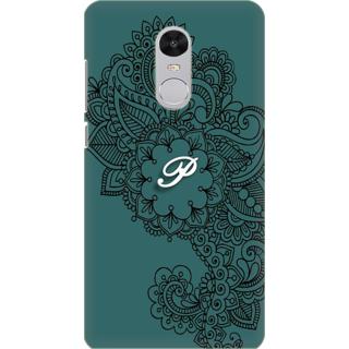 Printed Designer Back Cover For Redmi Note 5 - Ornamental Pattern Letter Alphabet P Design