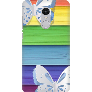 Printed Designer Back Cover For Redmi Note 5 - Butterflies colorful wooden panel Design