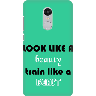 Printed Designer Back Cover For Redmi Note 5 - Look like Beauty Train Like Beast Design