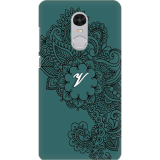 Printed Designer Back Cover For Redmi Note 5 - Ornamental Pattern Letter Alphabet V Design