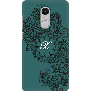 Printed Designer Back Cover For Redmi Note 5 - Ornamental Pattern Letter Alphabet X Design