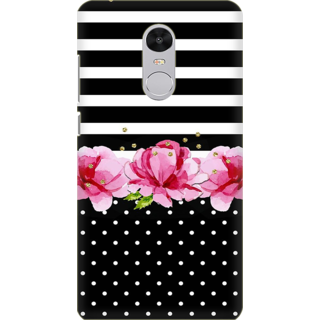 Printed Designer Back Cover For Redmi Note 5 - Pink Roses White Polka Dots Design