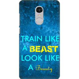 Printed Designer Back Cover For Redmi Note 5 - Train like beast loke like beauty Design