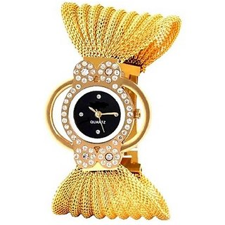 Varni Retail Bracelet Style Diamond Black Dial Designer Girls Wrist Watch For Women