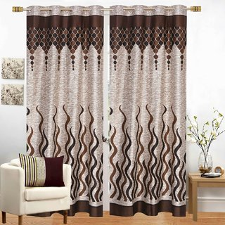 Choco Creation Coffee Fire Panal Curtain 7ft Pack Of 2