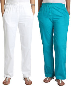Apella White  SkyBlue Cotton Pant Palazzo Combo Pack