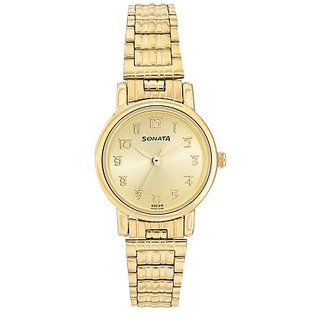 Sonata Analog Quartz Champagne Mens Watch - 8976YM06