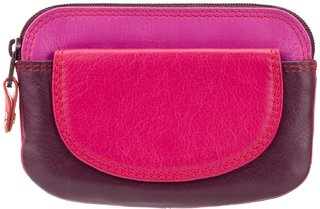 Visconti Rainbow Ibiza Bi-Fold Plum  Multi Color Genuine Leather Coin Purse For Woman