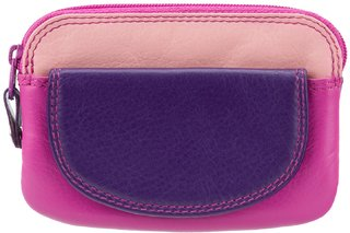 Visconti Rainbow Ibiza Bi-Fold Berry & Multi Color Genuine Leather Coin Purse For Woman
