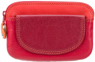 Visconti Rainbow Ibiza Bi-Fold Red & Multi Color Genuine Leather Coin Purse For Woman