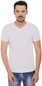 268 BCE Solid Men's V-neck White T-Shirt