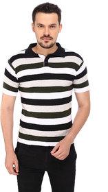 268 BCE Striped Men's Polo Neck Multicolor T-Shirt