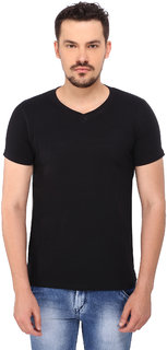 268 BCE Solid Men's V-neck Black T-Shirt