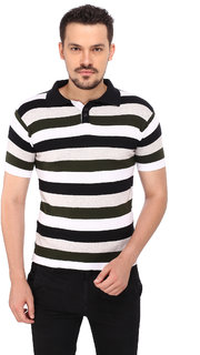 268 BCE Striped Men's Polo Neck Multicolor T-Shirt