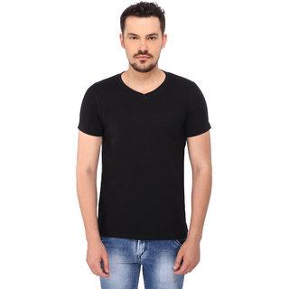 268 BCE Solid Men's V-neck Black T-Shirt