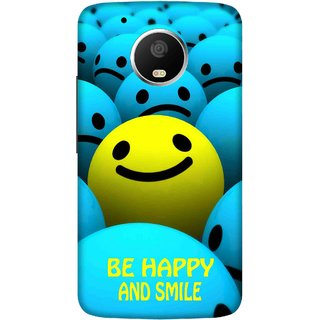 Print Opera Hard Plastic Designer Printed Phone Cover for   Moto G5 Plus Be happy and smile blue and yellow