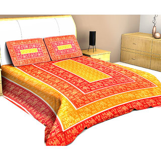 Halowishes Pure Cotton Jaipuri Gold Print Royal Wedding Double Bedsheet