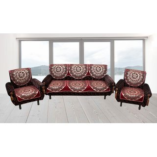 Furnishing Zone maroon Velvet Heavy Sofa Cover(