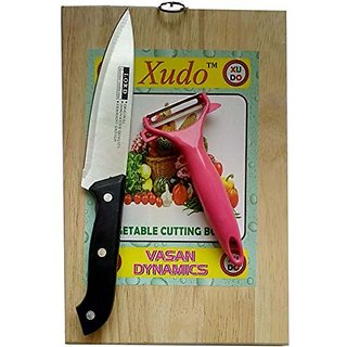 Xudo vegetable cutting board with green peeler and knife