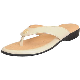 Dr.Scholls Women's Cream Leather House and Daily Wear Flat Slippers