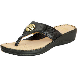 Dr.Scholls Women's Black Leather House and Daily Wear Wedge Slippers