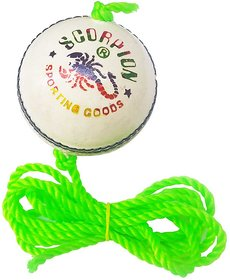 White Cricket Practice Hanging Ball (Pack of 1) Leather Hanging Ball for Cricket
