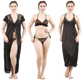 Grand Bear Black Satin Nighty, Wrap Gown, Bra And Panty (Pack of 4)