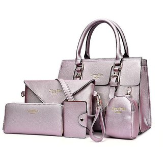 041c7297447e Buy Ladies Hang Bag Combo Of 5 (Pink Edition) Online   ₹2499 from ShopClues
