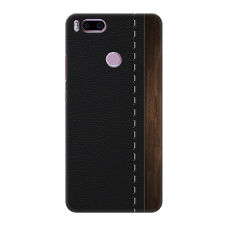 Printed Designer Back Cover For Redmi A1 - black Leather Strip Design