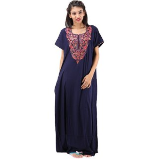 5ff75b9d73 Buy Valencia Sleepwear Women s Embroidery Night Gown Nighty Maxi Nightwear  Lizzybizzy cotton Online - Get 45% Off