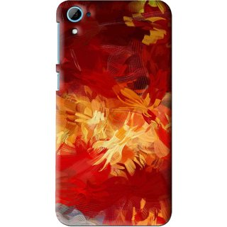 Snooky Printed Flamy Fire Mobile Back Cover For HTC Desire 826 - Red