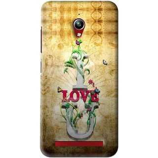 Snooky Printed I Love You Mobile Back Cover For Asus Zenfone Go - Brown