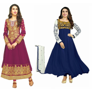 REYA Womens Ethnic wear solid floral print Georgette pack of 2 combo salwar suits Dupatta dress material