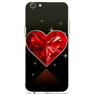 Snooky Printed Diamond Heart Mobile Back Cover For Oppo F3 - Red