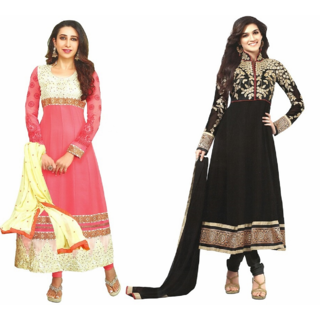 REYA Womens Ethnic wear solid floral print Georgette pack of 2 combo salwar suits Dupatta dress material (Unstitched)