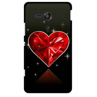 best cheap 4ae82 a86c7 Snooky Printed Diamond Heart Mobile Back Cover For Sony Xperia SP - Red
