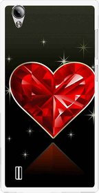 Snooky Printed Diamond Heart Mobile Back Cover For Vivo Y15 - Red