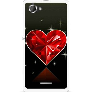 new product fb6a5 acb6d Snooky Printed Diamond Heart Mobile Back Cover For Sony Xperia L - Red