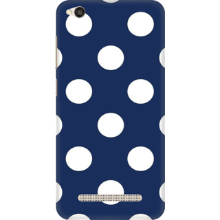 Printed Designer Back Cover For Redmi 5A - Blue And White Polka Dots Design