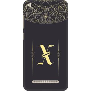 Printed Designer Back Cover For Redmi 5A - Gold Color Name Initial Alphabet X Design