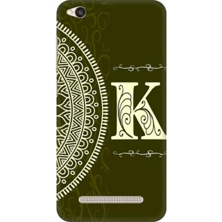 Printed Designer Back Cover For Redmi 5A - Gold Color Name Initial Alphabet K Design