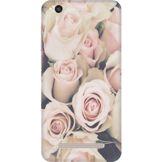 Printed Designer Back Cover For Redmi 4A - Pink Roses Grunge Design