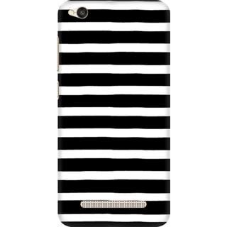 Printed Designer Back Cover For Redmi 4A - Black and White Stripes Design