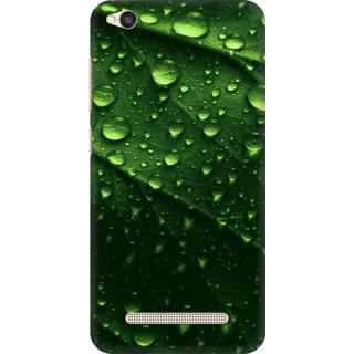 Printed Designer Back Cover For Redmi 4A - Water Drops on Leaf Design