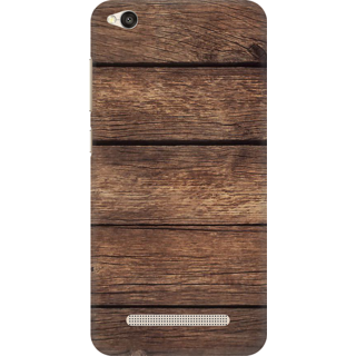 Printed Designer Back Cover For Redmi 4A - Dark Wood Stripes Design