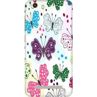 Printed Designer Back Cover For Redmi 4A - multi color butterflys Design