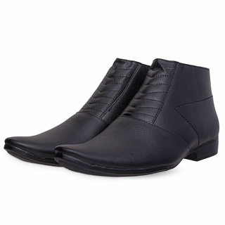 Sanferrara Men's Latest Summer Collection Synthetic Leather Black High Ankel Formal Shoes