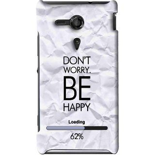 Snooky Printed Be Happy Mobile Back Cover For Sony Xperia SP - Grey